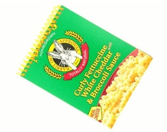 CURLY FETTUCINE mac n cheese recycled spiral bound journal notebook