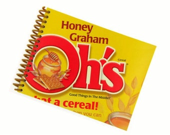 HONEY GRAHAM CEREAL recycled spiral bound journal notebook