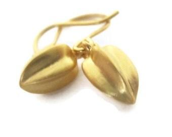 14K Solid Gold Earrings, Small Seed Pod  Earrings, Solid Gold Drop Earrings , Artisan Handmade  by Sheri Beryl