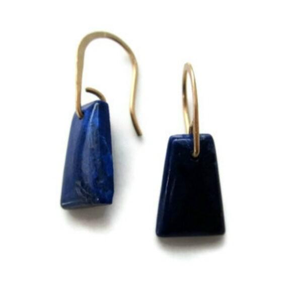 Lapis Lazuli Earrings  Dark Blue Stone Earrings Blue Gold Drops