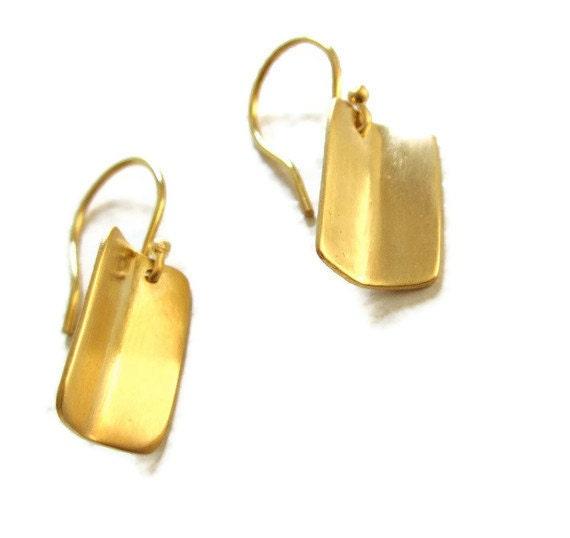 18K Yellow Gold Earrings Small Rectangle Earring Drops,