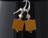 Clearance: Wooden cube beaded earrings with sterling silver - mustard yellow