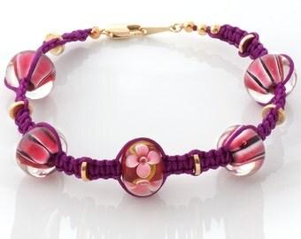 Clearance: Pink bracelet, lampwork bracelet, fuchsia pink bracelet with lampwork beads and gold tone finidngs, glass bead bracelet