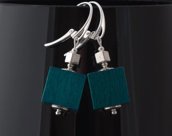 Clearance: Wooden cube beaded earrings with sterling silver - teal
