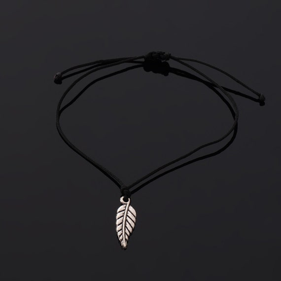 Wish bracelet - black cord and silver tone feather charm - adjustable size