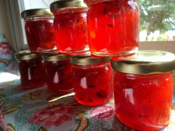 Strawberry Jalapeno Jam    Mini mason jars    Wedding Favors 100 jars or custom amount!