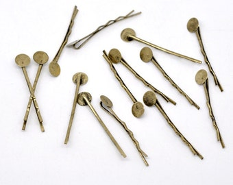 50pc Antique Bronze Bobby Pins with 8mm Glue Pad - Ships from USA - H2-2