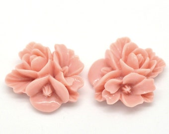 5pcs Pink Tri-flower Flat Backed Resin Cabochons - Embellishment, Cameo, Jewelry Finding, Jewelry Making Supplies, Ships from USA - R19