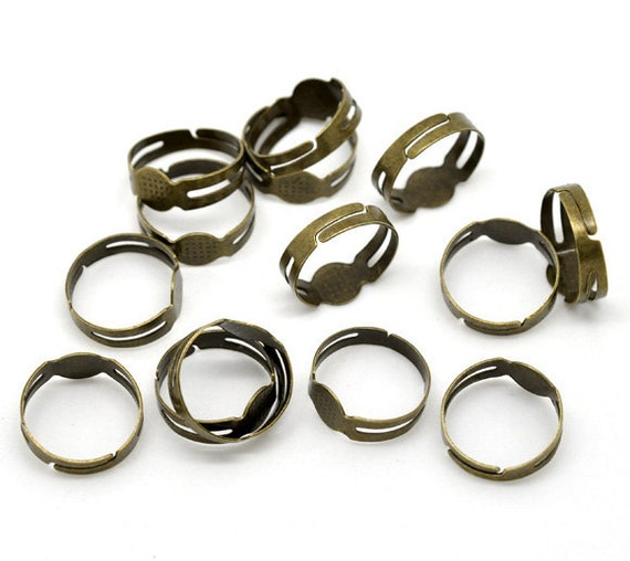 10pc Antique Bronze Adjustable Rings with Glue Pad - Ring Blank, Jewelry Finding, Jewelry Making Supplies, DIY, Shipped from USA - R3