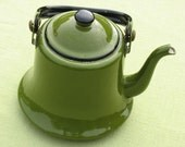 Vintage Avocado Green Enamelware Teapot
