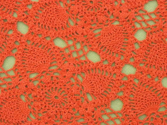 Vintage Doily Crocheted Orange Retro Dresser Scarf Rectangular 60s