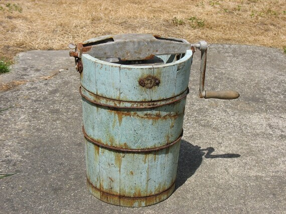 Vintage Ice Cream Maker Ice Cream Churn Sea Foam Green Rusty Antique Great Father's Day Gift
