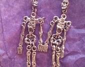 Halloween earrings silver skeleton sterling silver gothic jewelry