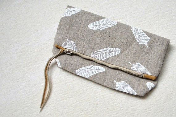 handprinted linen foldover clutch with metal zipper and genuine leather accents