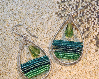 Beaded and Wire Wrapped Earrings