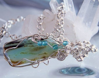African Agate and Sterling Wire Wrapped Necklace