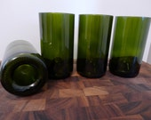 "CUSTOM Order for AAK9 - Tall 16oz. Reclaimed Green Wine Bottle Drinking Glasses - ""The Bordeauxs"" - 5 Sets of 4"