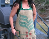 Full Cooking Apron from Burlap Coffee Bag