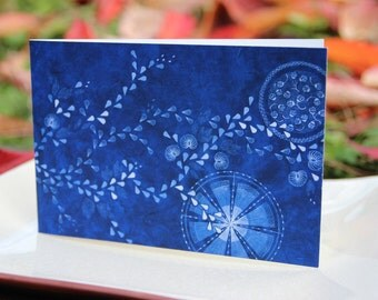 Art Greeting Card 'Long Leafvine on Blue' on recycled paper