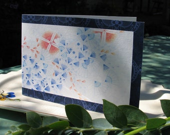 Art Greeting Card 'Orange and Blue' on Recycled Paper