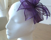 Cadburys Purple Petal Fascinator, Sinamay and Feather, Weddings, Races, Proms, Kentucky Derby, Ascot, Melbourne Cup