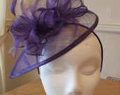 Cadburys Purple Fascinator and Feather Fascinator on a hairband, races, weddings, Ascot, Mother of the Bride, Melbourne Cup