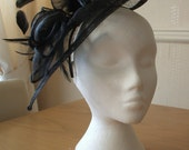 Black Fascinator and Feather Fascinator on a hairband, races, weddings, special occasions, Kentucky Derby, Ascot, Melbourne Cup