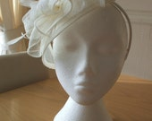 Ivory Cream Fascinator and Feather Fascinator on a hairband, races, weddings, special occasions