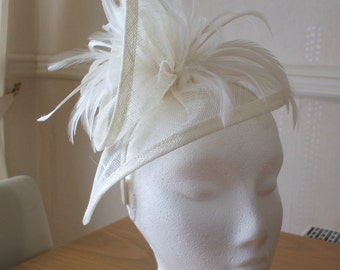 Ivory Cream Sinamay and Feather Fascinator Formal Hat, on a hairband  weddings, races, Ascot