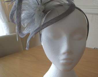 Silver Grey Gray Sinamay and Feather Fascinator Formal Hat, on a hairband