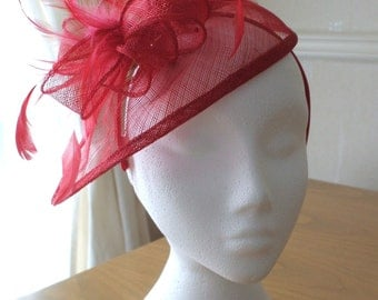 Red Fascinator and Feather Fascinator on a hairband, races, weddings, Ascot, Derby, Melbourne Cup
