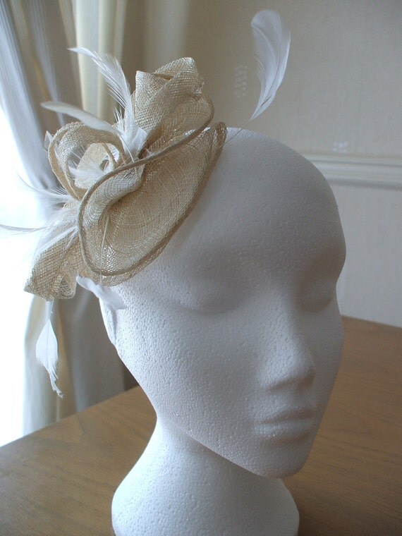 Cream Fascinator, Sinamay and Feather, on a comb. Weddings, Races