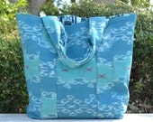 Cool Blue Ikat Market Bag