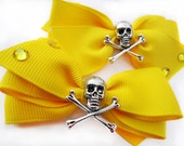Assymetrical Crystal Goth Rockabilly Skull Bows yellow
