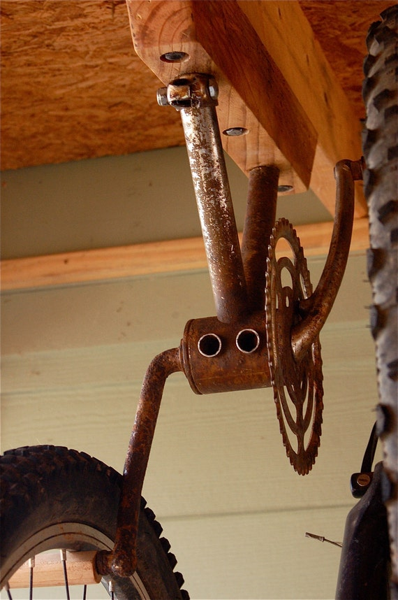 Bike Rack for 2 Bikes from Antique Bike Gear and Pedals - Ceiling or Wall Mount