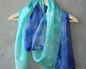 Custom Listing for Gigi - Seafoam Green to Navy Scarf - hand dye-painted