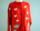 TEMP RESERVED FOR Hayley - Vintage Red Cardigan Sweater White Hearts 80s