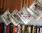 Vintage Hand-Embroidered Day of the Week Flour Sac Hand Towels