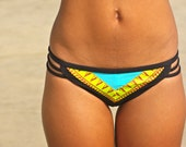 "The ""Chelsea"" REVERSIBLE BIKINI bottoms Black/TRIBAL/Turquoise"