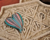 Turquoise Striped Mirrored Heart Pendant
