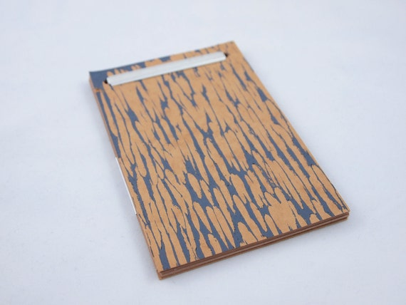 Blue-Gray Woodcut Printed Manila Folder Prong Notepad - Large Woodgrain