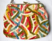 Vintage chenille carpet bag handbag or brocade tapestry purse- rare colors