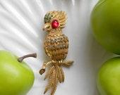 Reserved--Vintage parrot bird brooch rhinestone jewelry pin