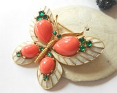 Reserved for Catherine.  Sold- Vintage Trifari L' Orient series butterfly brooch- coral & enamel jewelry
