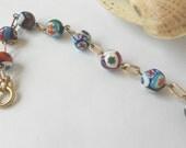 Vintage italian millefiori bead bracelet glass lampwork jewelry