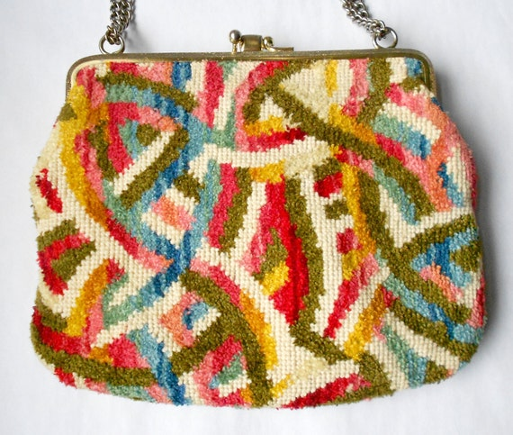 Vintage chenille carpet bag handbag or brocade tapestry purse- rare colors