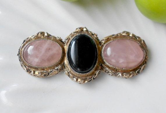 Sterling vermeil brooch- edwardian onyx & rose quartz cabuchon bar pin