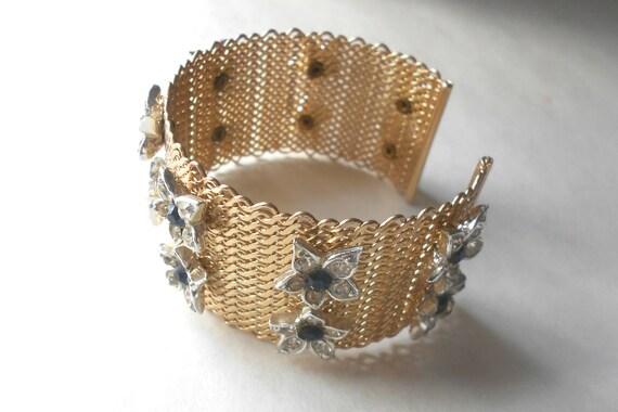 Vintage bracelet, bridal cuff, rhinestone bracelet, Hobe' something blue