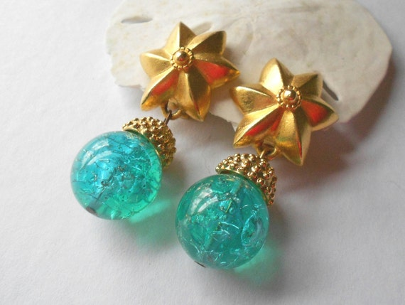 Vintage designer earrings, Leslie Block 1980s collectible runway statement jewelry