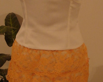 Off White/Tangerine-two piece bridesmaid,  party, prom, formal occasion dress